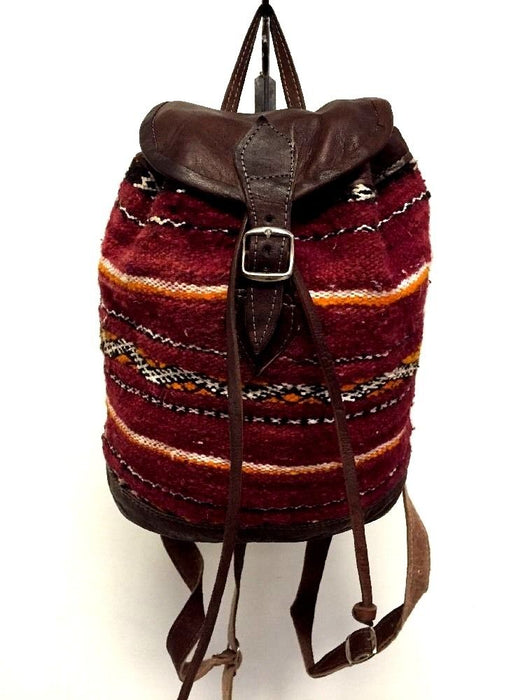 Moroccan Tribal Backpack in Kilim Handwoven Wool & Leather Travel Bag