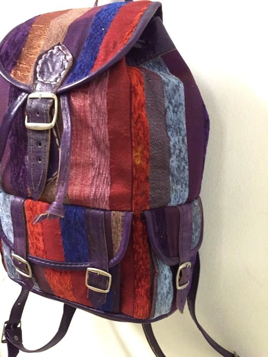 Moroccan Sabra Silk Fabric & Purple Leather Multicolor Striped Backpack Handbag