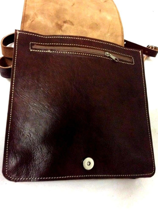 100% Grain Leather Messenger Bag Handsewn Rugged Handbag Purse Travel Rucksac