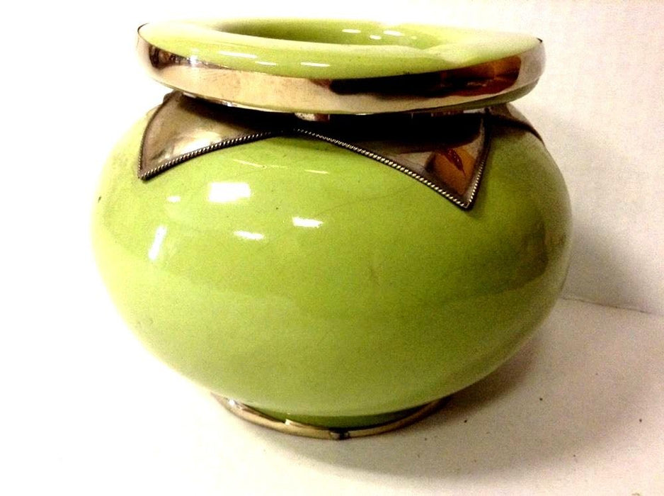 Moroccan Lidded Ashtray in Glazed Terracotta Metal  Accent APPLE GREEN XL