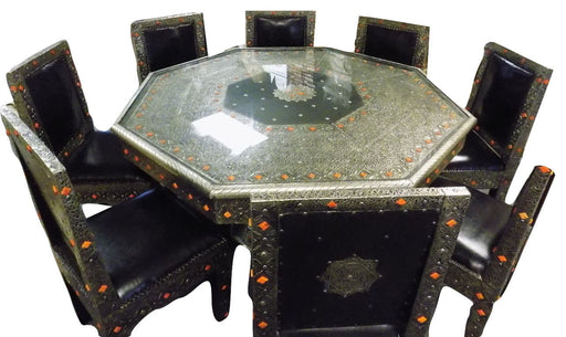 8 hair Moroccan Octagonal Table Silver Arabesque Engraved Metal Dining set