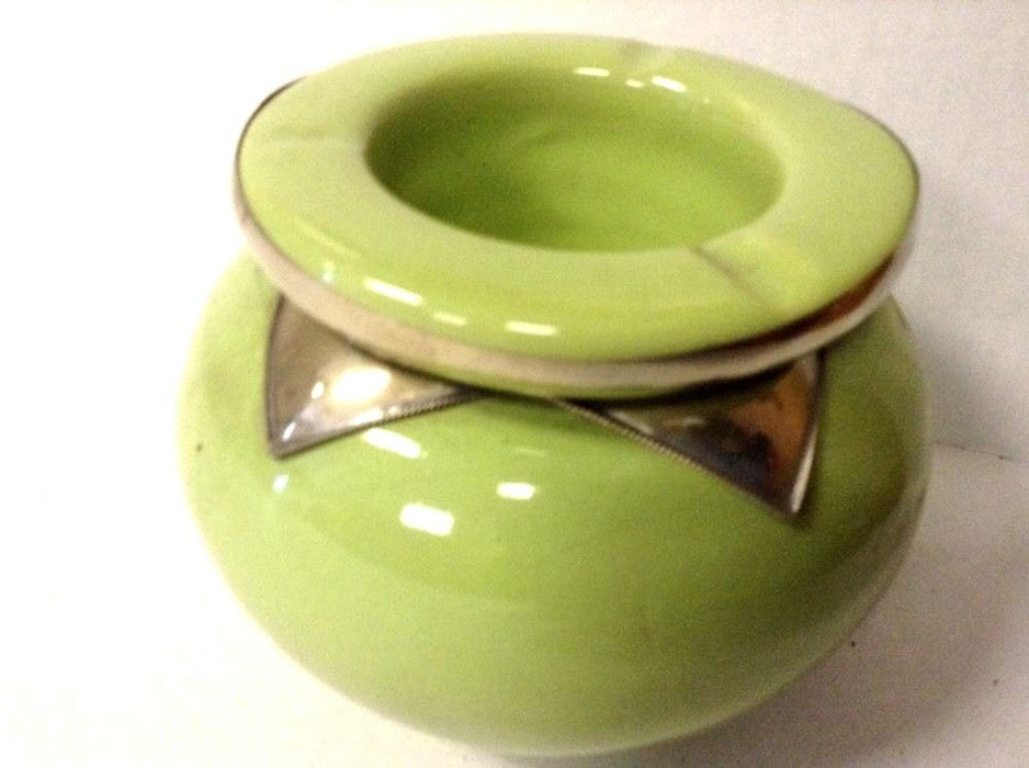 Moroccan Lidded Ashtray in Glazed Terracotta Metal  Accent APPLE GREEN