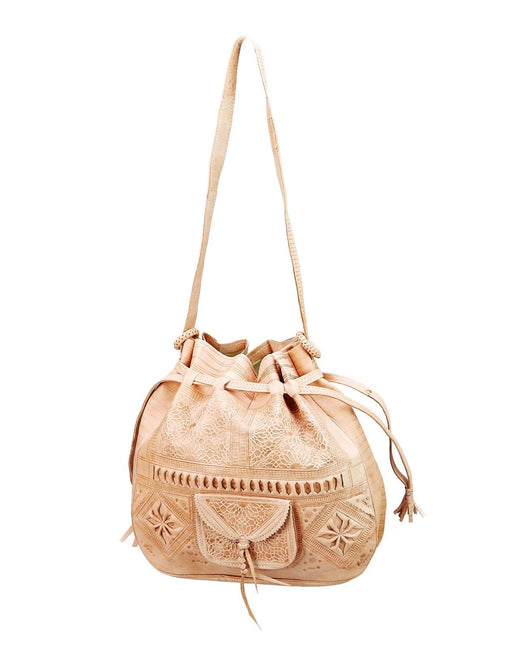 Moroccan Tribal Tooled Embossed Beige Natural Leather Bag Hobo Handbag