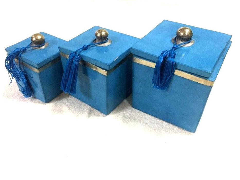 Moroccan Set of 3 Spice Jar Canisters in Painted Terracotta & Metal Decor Teal