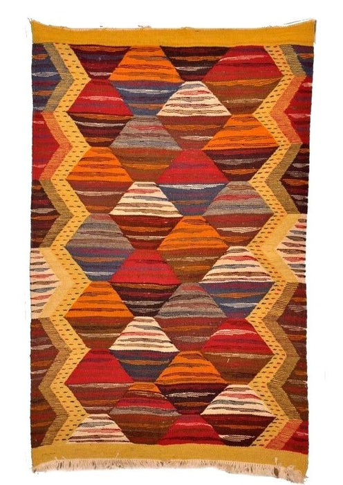 "Moroccan Handwoven Berber Tribal  Wool Kilim Kilem Area Rug Carpet 40.5"" x 25.5"""