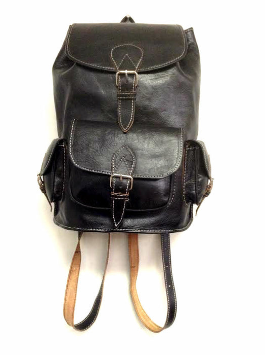 Handmade Genuine Leather Backpack Rugged Rustic Travel Bag in Black 3 Pockets