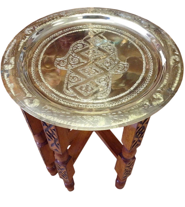 Moroccan Engraved Carved Polished Single Hamsa Hand Brass Tray
