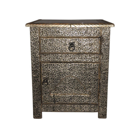 Moroccan Nightstand Table in Arabesque Carved & Embossed Silver Metal Glass Top