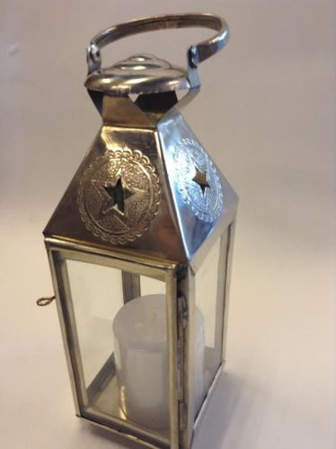 Moroccan Star Lanterns hand made in hammered silver Metal finish (small)