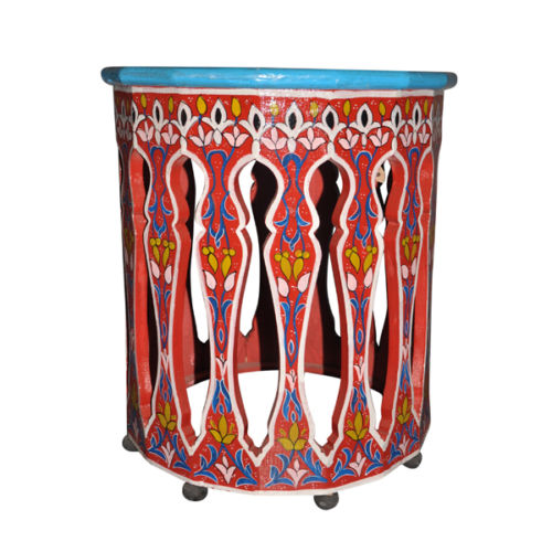 Moroccan Round Hand Painted Accent Table Moorish Design Furniture End Table