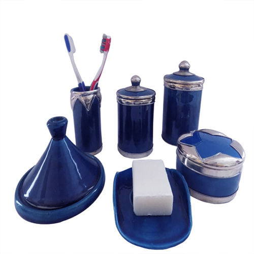 Bathroom Vanity Accessories 6 Pieces set Moroccan Pottery blue color