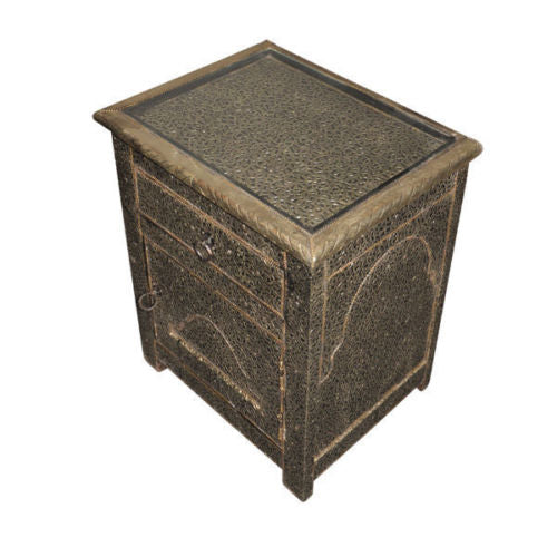 Moroccan Handmade Storage Rustic Two-Tone Silver/Gold Chest Trunk Box Large