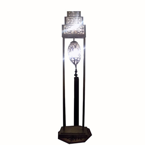 Moroccan Handmade Carved Hammered Polished Silver Metal Floor Lamp Light Tassel