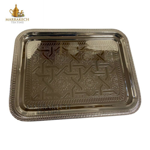 "Marrakesh Tea Time Moroccan Style Engraved Silver Serving Tray Rectangular 16"" X 12"""