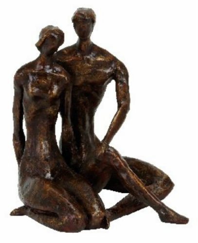 Couple Polystone Sculpture by Benzara Bronze Finish