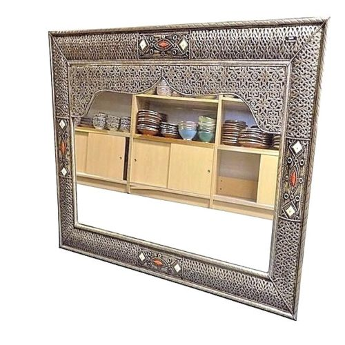 Moroccan Arabesque Silver Finished Carved Embossed Wall Mirror