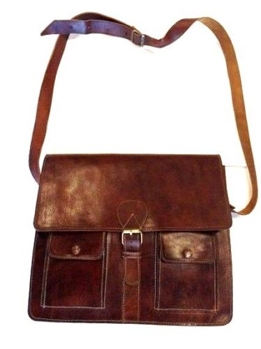 "Morocco Design Raw Leather Briefcase 14"" Laptop Case"
