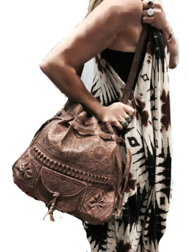 Moroccan Tribal Dark Brown Embossed Leather Bag Hobo Handbag