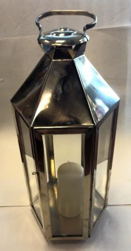 Moroccan Silver Lantern Hexagonal Metal & Glass Hanging Candle Lamp