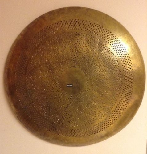 Moroccan Carved Hammered Brass Round Sconce Wall Ceiling Lamp