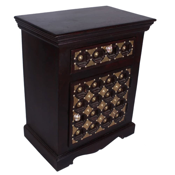 Slick Solid Wood with Accent 1 Drawer & 1 Door Nightstand