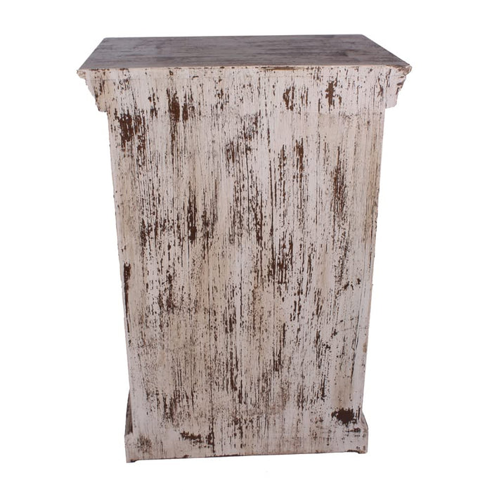 Snow White Distressed Solid Mango Wood Nightstands - End Table