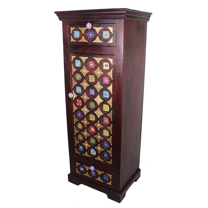 New Solid Mango Wood Brass Accent Narrow Chest Drawer Cabinet