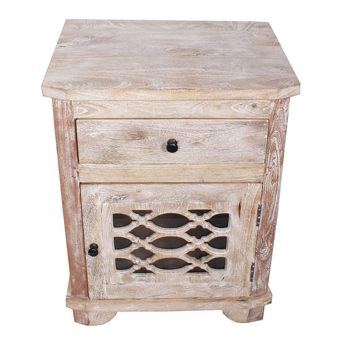 Solid Mango Wood Nightstand Moroccan End Table Cabinet