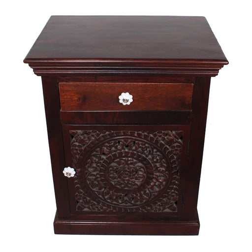 Taj Mahal Solid Mango Wood Carved Door Nightstand-End Table-Accent Tab