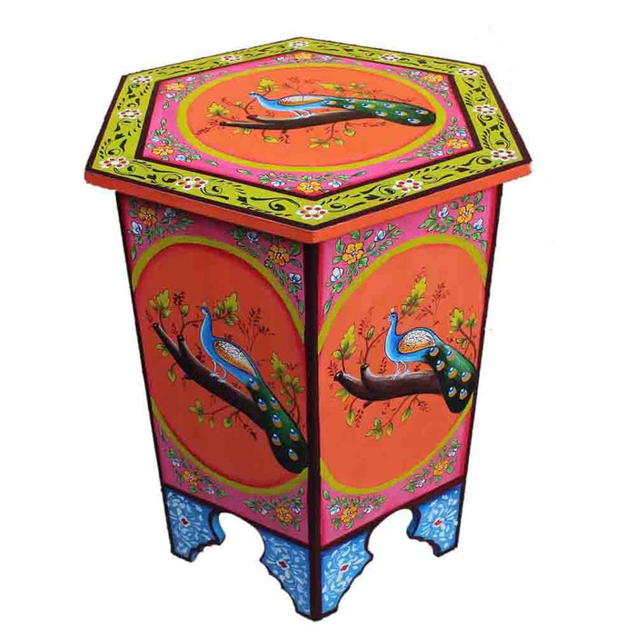 moroccan multicolor hand painted end table corner table lamp table-xl