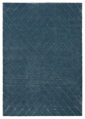 Rug with blue linear pattern