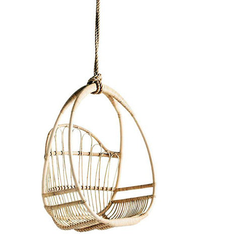 Round rattan structured hanging chair