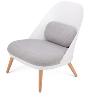 White Shell Chair with grey fabric cushions