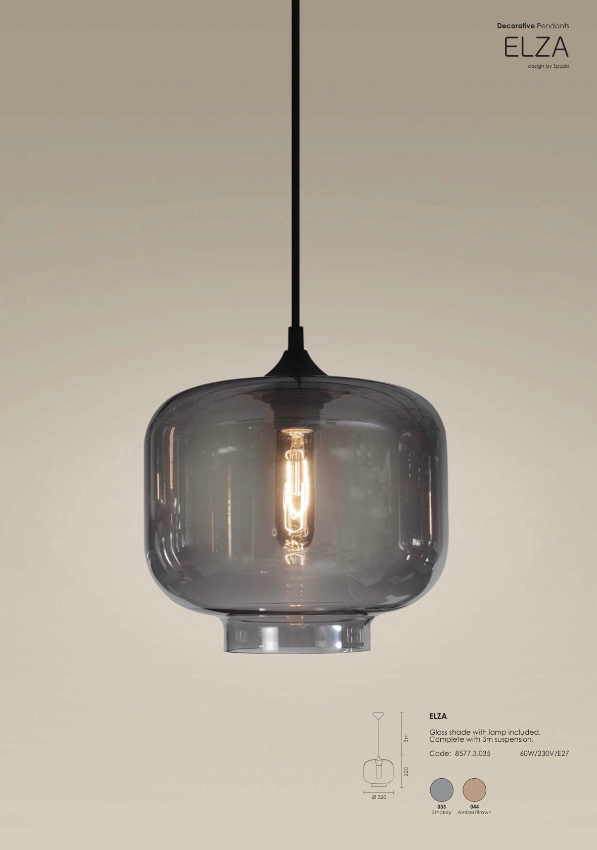 SPAZIO Elza Glass Pendant Smokey