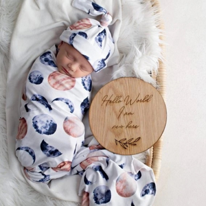Over the moon swaddle blanket & newborn top knot beanie set