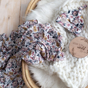 Chasing Summer' Floral Swaddle Blanket & Newborn Top Knot Beanie Set