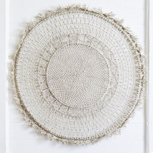 Round hanging piece with detailed macrame work