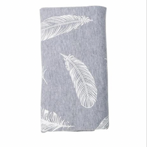 Stretch Cotton Blanket – Feathers On Grey Melange
