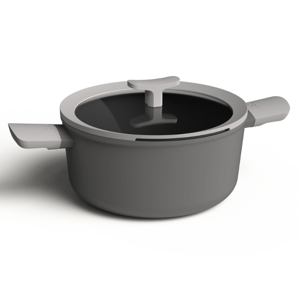Covered Stockpot Grey 4.6L 24cm -LEO Collection
