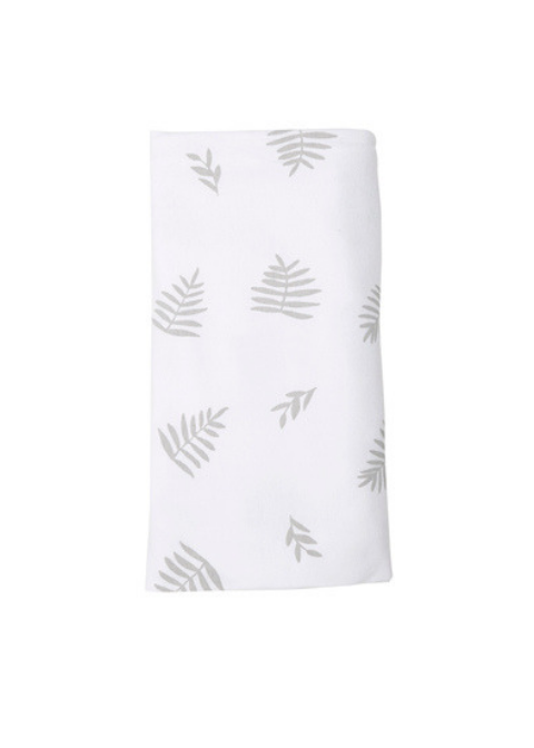 Stretch Cotton Blanket – White With Grey Leaf