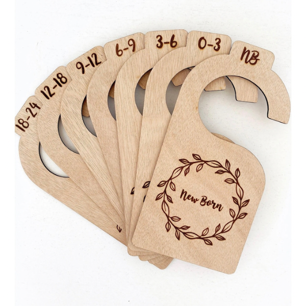 Wooden Closet Dividers - Laser engraved wreath