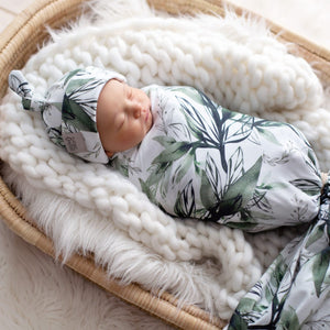 'Forest Shadows' Swaddle Blanket & Newborn Top Knot Beanie Set