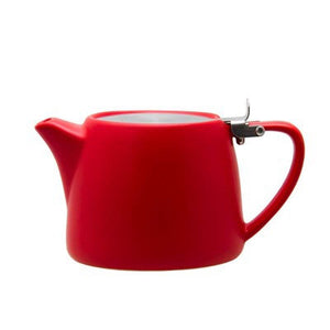 STONEWARE STACKABLE TEA POT WITH STAINLESS STEEL INFUSER LID MATT RED 600ML