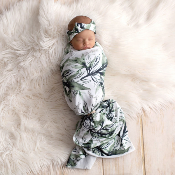Forest Shadows Swaddle Blanket & Rose Knot Headband Set