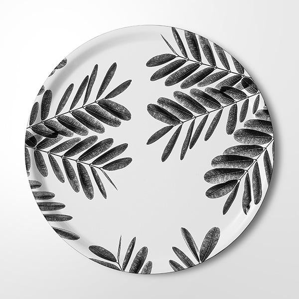 Serving Tray - Flushing Leaves (black & white)