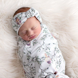 'Spread Your Wings' Sparrow Swaddle Blanket & Rose Knot Headband Set