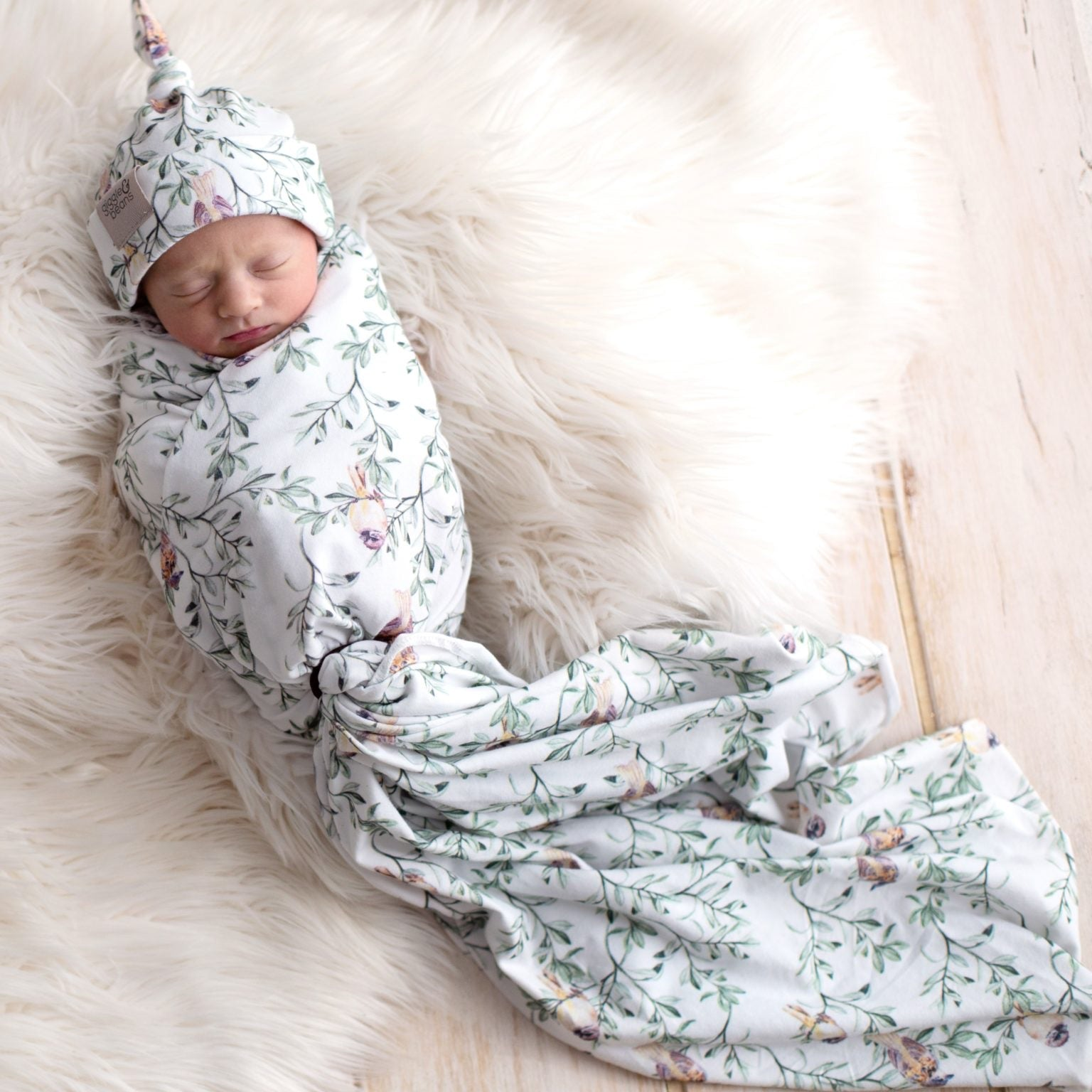 Spread Your Wings' Sparrow Swaddle Blanket & Newborn Top Knot Beanie Set