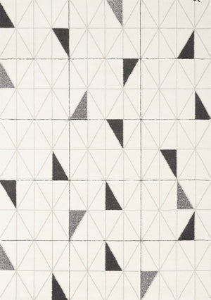 Modern Triangular Rug Black and grey on cream