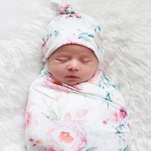 Peony Blooms swaddle blanket & newborn top knot beanie set