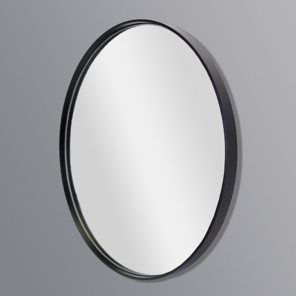 Deep Frame Round Mirror Black